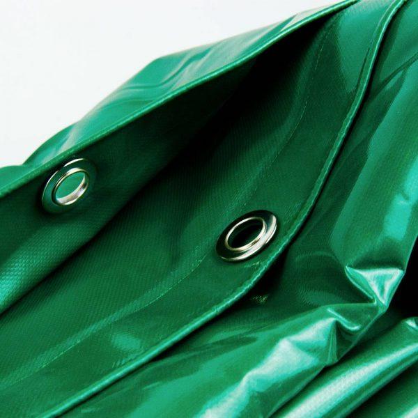 5x8 Green tarpaulin sheet 650gsm PVC cover with Aluminium eyelets