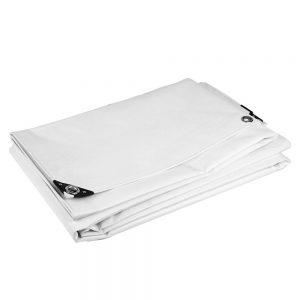 5x6 White tarpaulin sheet 650gsm PVC cover tarpaulin with Aluminium eyelets